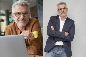 Two images of the same middle aged man wearing different pairs of glasses